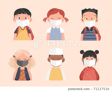 Kids with protection mask and stop the spread of viruses,Vector illustrations. 71117510