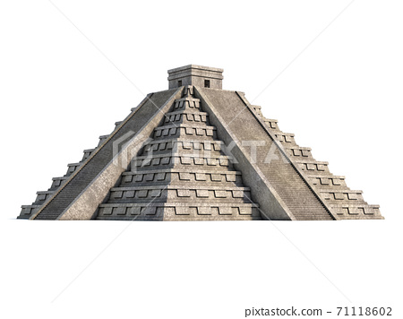 Mayan pyramid isolated on white 3d rendering 71118602