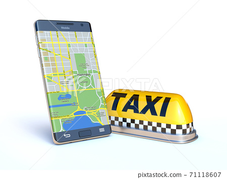 Mobile phone with taxi sign, taxi app 3d rendering 71118607
