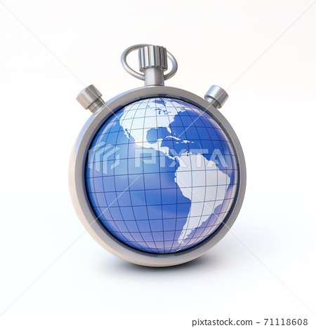 Globe, planet Earth on stopwatch, enviroment or world time concept 3d rendering 71118608