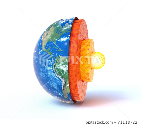 Earth core structure with geological layers 3d rendering 71118722