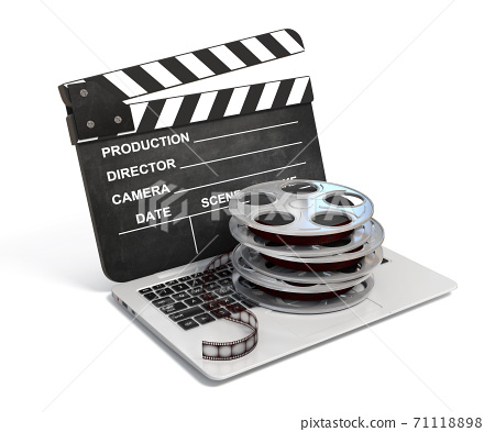 Laptop with films reel and movie clapper, Video or movie online internet concept 3d rendering 71118898