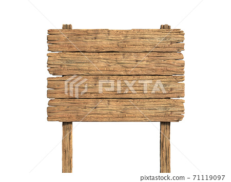 Wooden notice board isolated on white 3d rendering 71119097