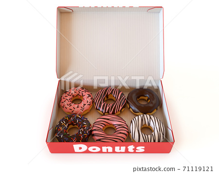 Donut box isolated on white background 3d rendering 71119121