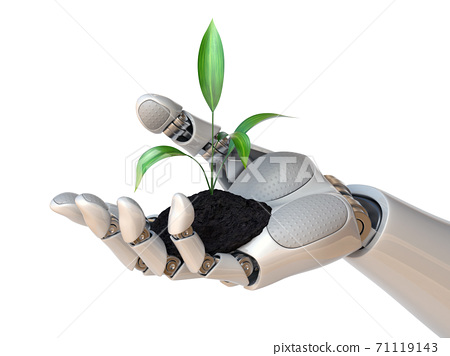 Robot hand holding plant, synthetic life, genetic engineering concept, 3d rendering 71119143