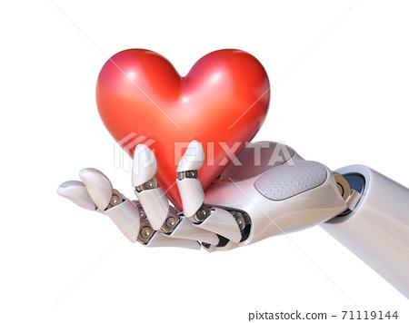 Robot hand holding a heart 3d rendering 71119144