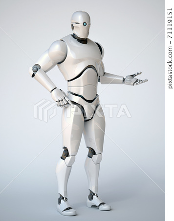 Robot on white background in a holding, pointing or presenting pose 3d rendering 71119151