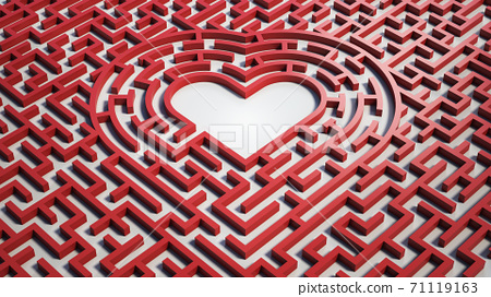 Heart shaped maze labyrinth of love 3d rendering 71119163
