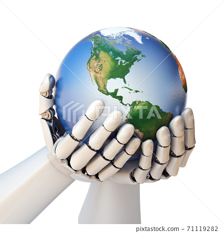 Robot hand holding planet Earth 3d rendering 71119282