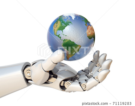 Robot hand holding planet Earth 3d rendering 71119283