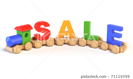Wooden toy train with SALE letters as railroad cars 3d rendering 71119399