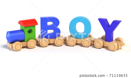 Wooden toy train with BOY letters as  railroad cars 3d rendering 71119635