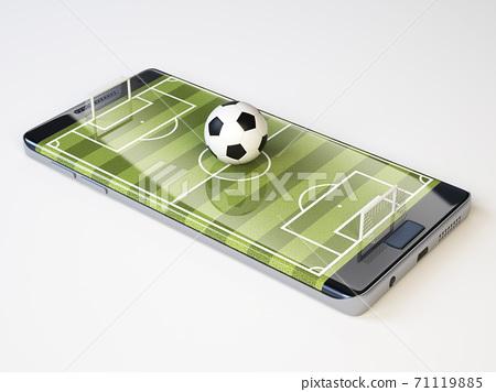 Smart phone as football field, watch online, bet online concept, 3d rendering 71119885