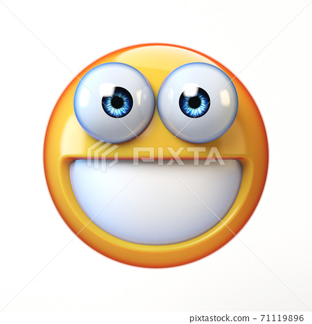 Smiling emoji isolated on white background, teeth emoticon 3d rendering 71119896