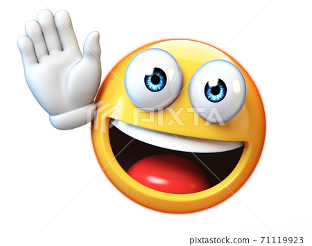 Emoji waving with one hand isolated on white background, good bye emoticon 3d rendering 71119923