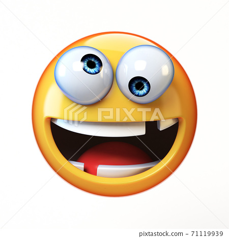 Crazy emoji isolated on white background, silly face emoticon 3d rendering 71119939
