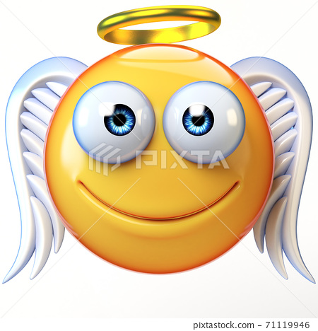 Angel emoji isolated on white background, emoticon with wings and halo 3d rendering 71119946