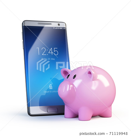 Piggy bank next to mobile phone, online banking concept, 3d rendering 71119948