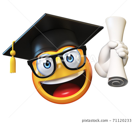 Emoji graduate student isolated on white background,emoticon wearing graduation cap holding diploma 3d rendering 71120233