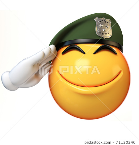Emoji army solider isolated on white background, military emoticon wearing beret saluting  3d rendering 71120240