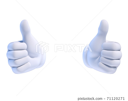 Thumbs up white cartoon hand 3d rendering 71120271