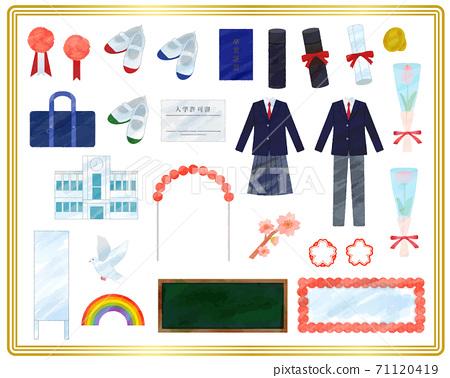 入學典禮和畢業典禮插圖材料/模擬風格 71120419