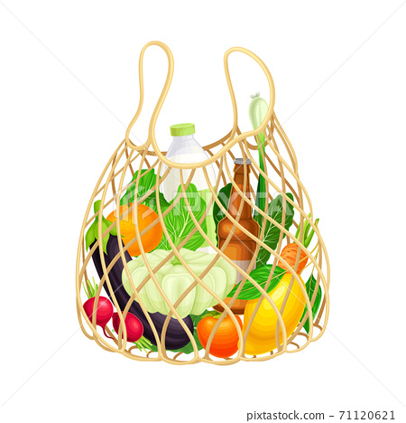 Mesh Shopping Bag Full of Food and Products from Grocery Market Vector Illustration 71120621