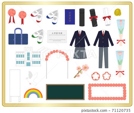 入學典禮和畢業典禮插圖材料 71120735