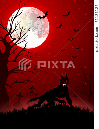 Halloween background with black wolf 71121128