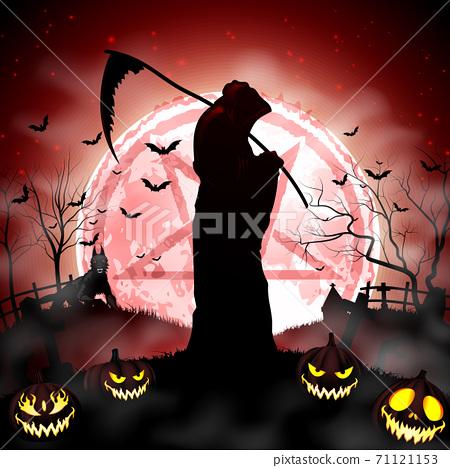 Halloween grim reaper holding scythe 71121153