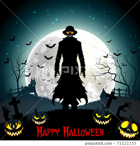 Halloween death with grim reaper, wolf and pumpkins in the woods 71121155