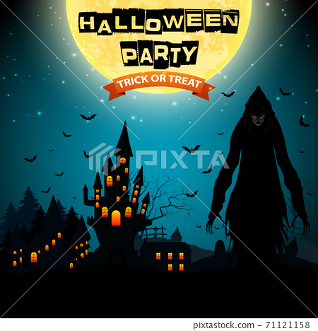 Halloween background with grim reaper and haunted house 71121158