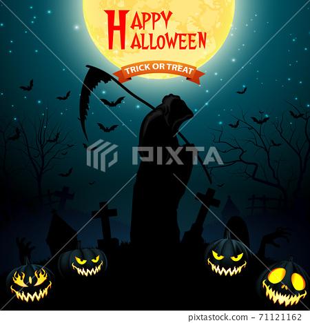 Halloween grim reaper holding scythe with pumpkins 71121162