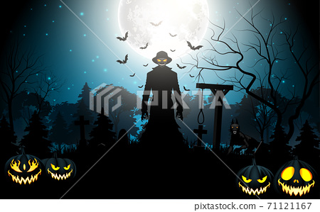 Halloween death with grim reaper and pumpkins in the graveyard 71121167