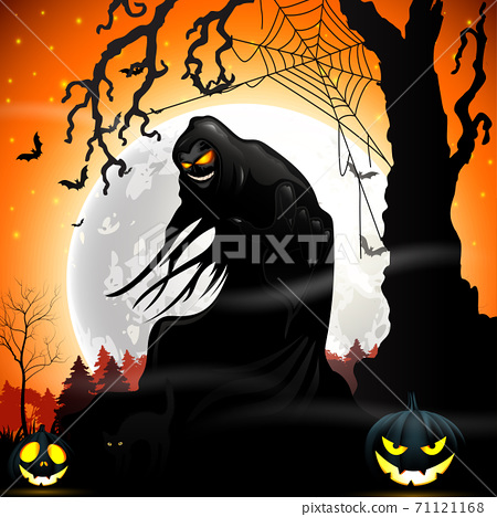 Halloween death with grim reaper and pumpkins 71121168