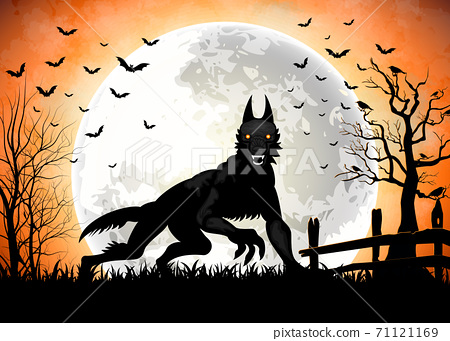 Halloween background with black wolf in graveyard 71121169