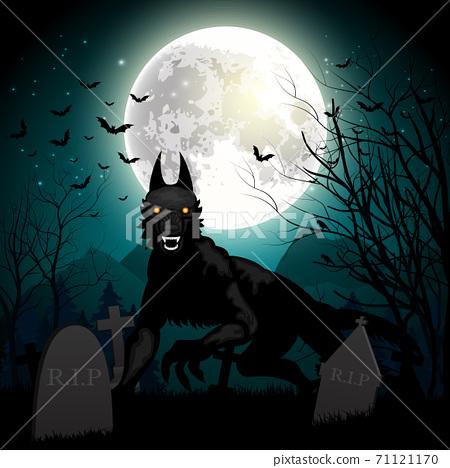 Halloween background with black wolf in graveyard 71121170