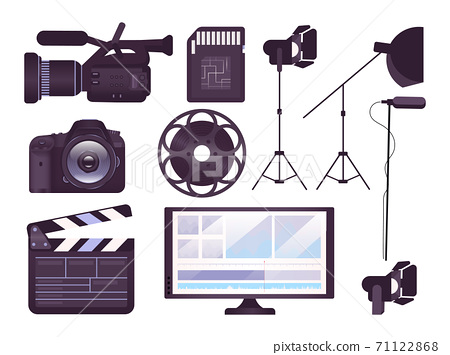 Video production equipment flat concept icons set. Professional camera, clapboard, movie reel stickers, cliparts pack. Filmmaking tools. Isolated cartoon illustrations on white background 71122868