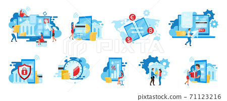 Banking service flat vector illustrations set. E payments app, billing service, safe financial transactions cartoon concepts. Ewallet, money transfer. Instant credit cards payments, deposits metaphors 71123216