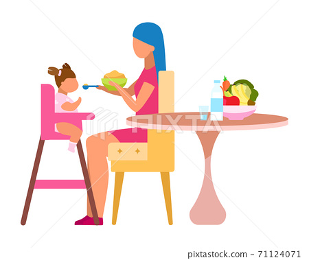 Mother feeding baby flat vector illustration. Healthy ingredients for little children isolated cartoon character on white background. Fruits, vegetables, dairy products in child balanced nutrition 71124071
