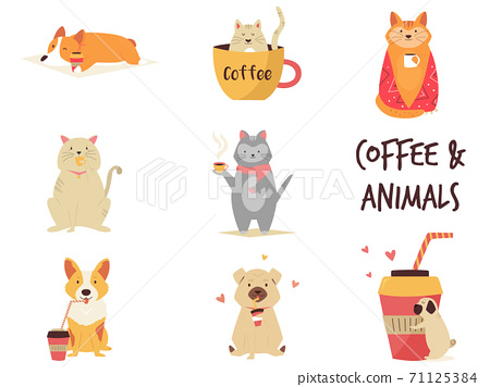 Set of cats and dogs enjoying coffee. 71125384