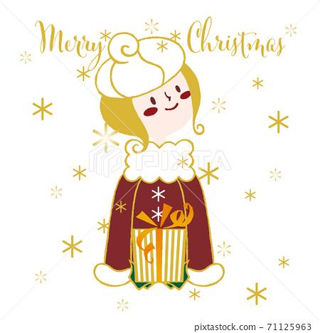 聖誕賀卡_聖誕快樂_閃閃發光的雪和禮物和紅色外套的女孩_white_square 71125963