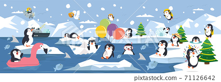 North pole Arctic family penguins background 71126642