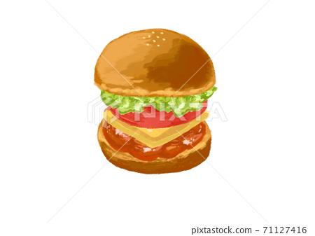 手繪雞肉漢堡番茄奶酪雞肉生菜 71127416