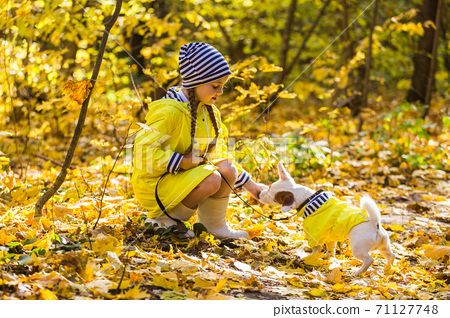 Little girl playing with her dog in autumn forest. Child and jack russell terrier dog. 71127748
