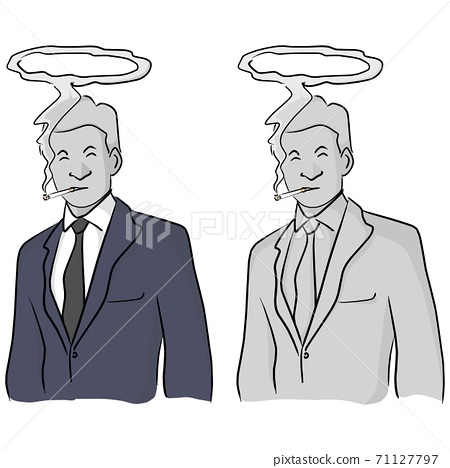dead businessman smoking with halo on his head vector illustration sketch doodle hand drawn with black lines isolated on white background 71127797