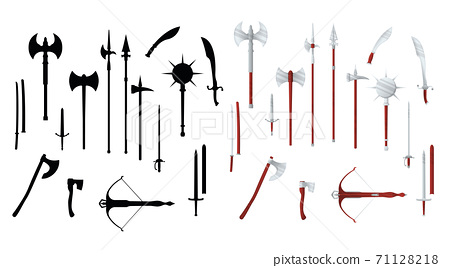 Medieval war type of weapon, set icon crossbow, sword, axe, pike mace and katana old cold weaponry flat, silhouette vector illustration, isolated on white. 71128218