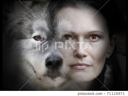 Photo collage of portraits of a beautiful woman and an Alaskan Malamute dog on a black background 71128971