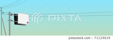 맑은 하늘과 도로 표지판 이정표 푸른 하늘 전주 가로 71129819