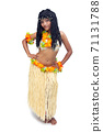 A hawaii hula dancer isolated on a white background 71131788